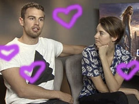 Theo James and Shailene Woodley talk practicing kissing on each other before filming Divergent