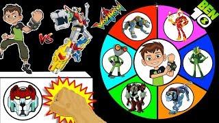 BEN 10 vs VOLTRON TOYS Spinning Wheel Slime Game   Aliens + Legendary Lions TV Shows