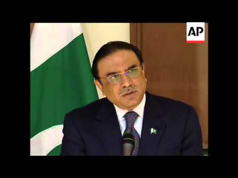 Pakistani leader Asif Ali Zardari arrives at NATO HQ