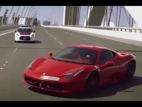 Policía de  Abu dhabi en persecución a un McLaren, un Nissan GTR y un  Ferrari