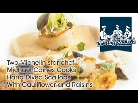 Two Michelin Starred Michael Caines Cooks Hand Dived Scallops With Cauliflower and Raisins