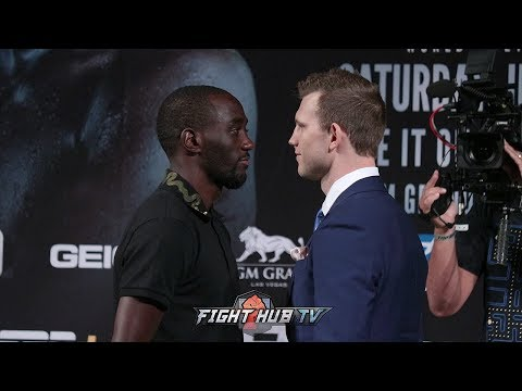 TERENCE CRAWFORD & JEFF HORN SHARE LONG AND INTENSE FACE OFF IN LAS VEGAS -  FULL FACE OFF VIDEO