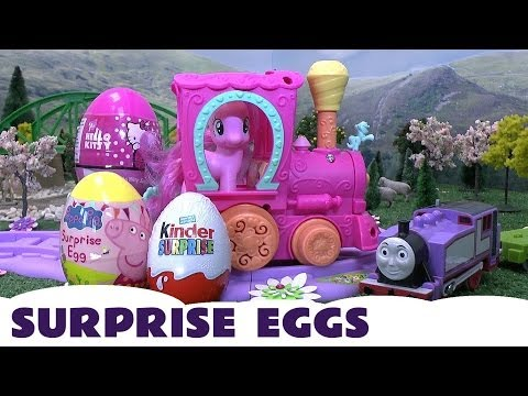 Peppa Pig Kinder Surprise Eggs My Little Pony Hello Kitty Thomas The Tank Rosie MLP Kids Train Set