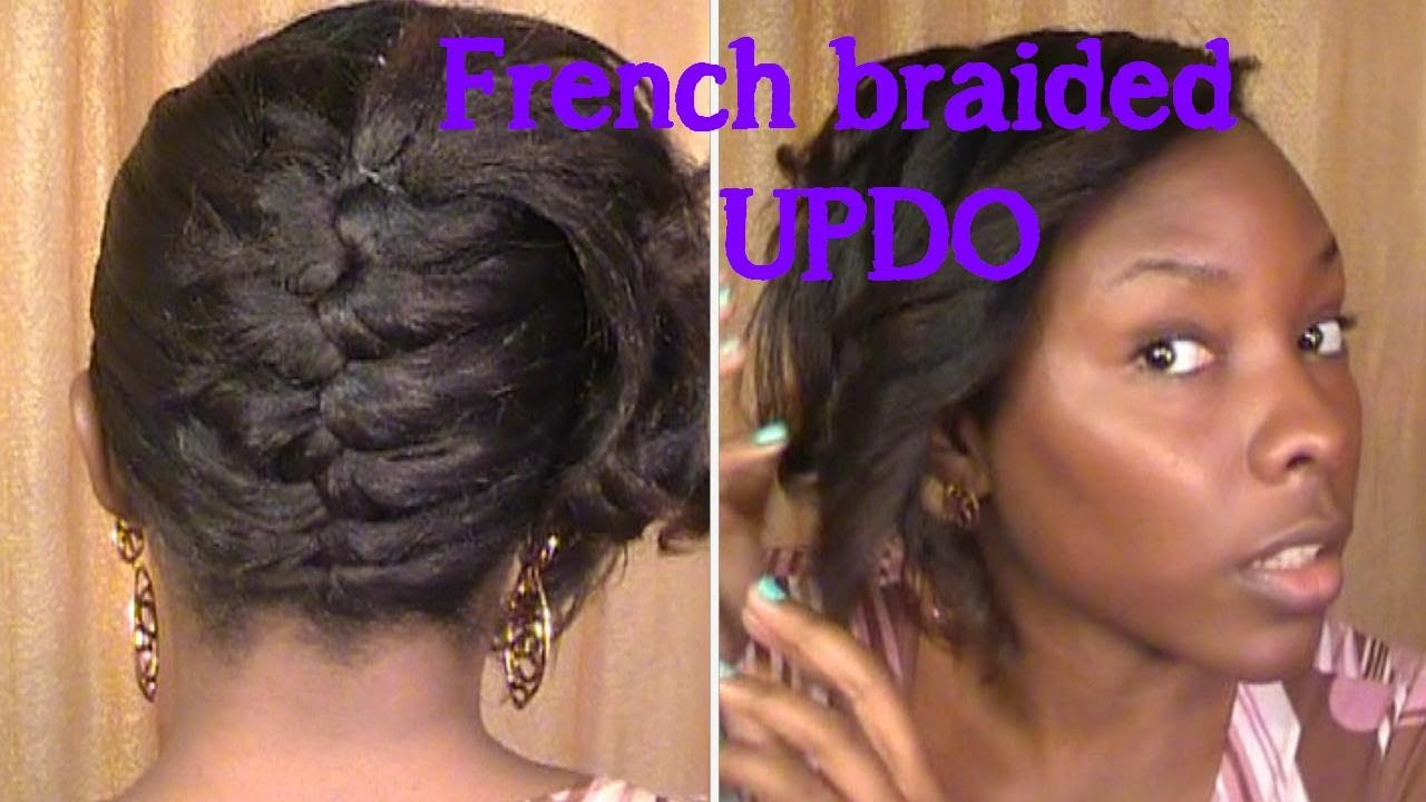 French braided updo on RELAXED HAIR - YouTube