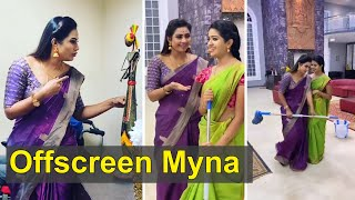 Myna Nandhini Offscreen Attricities in Set | Aranamani Kili