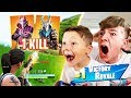 1 KILL = 10 *NEW* SEASON 5 SKINS FOR MY 9 YEAR OLD LITTLE BROTHER! (Fortnite Season 5 Challenge)