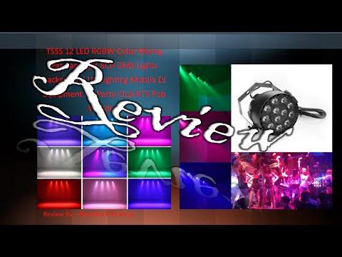 TSSS 12 LED RGBW Par Can Light 8CH DMX Lights Mobile DJ Equipment