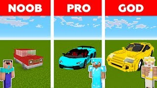 Minecraft NOOB vs PRO vs GOD : SPORTS CAR BASE CHALLENGE in minecraft / Animation
