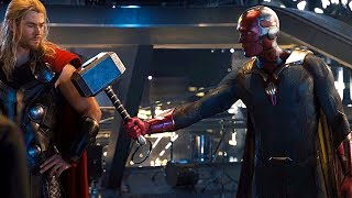 Vision Lifts Thor's Hammer Scene - Avengers: Age of Ultron - Movie Clip HD