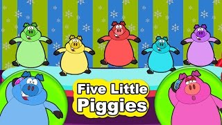 5 Colorful Piggies Jumping on Bed Nursery Rhyme | Five Little Piggies | Nursery Kids TV