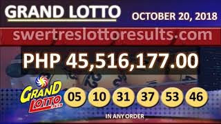 LOTTO RESULTS OCTOBER 20 2018 9PM DRAW - 6/55 result w/ jackpot of 45.5M