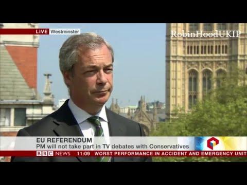 Nigel Farage welcomes a TV debate with David Cameron