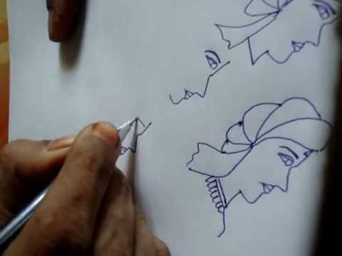How to draw henna (mehendi) element - dulha (Bride groom) - Line drawing..