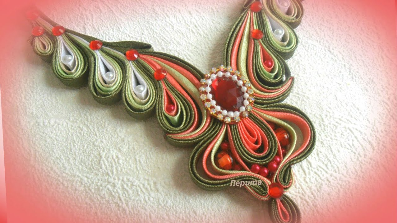 Ожерелье своими руками канзаши 1