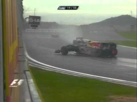 South Korea F1 GP 2010 Mark Webber + Nico Rosberg Big Crash In Rain South Korea