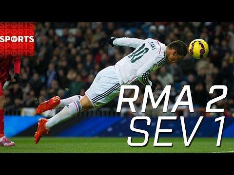 Real Madrid 2-1 Sevilla JAMES RODRIGUEZ HEADER GOAL