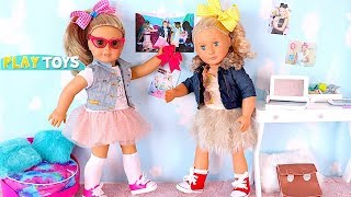 American Girl Doll dress up w/ Bow hairstyle like JoJo Siwa! Play Baby Doll Dress up & make up toys