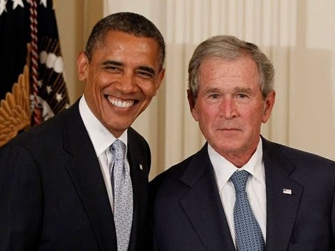 Presidents add humor to presidential portrait unveiling