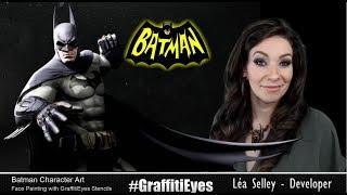 Batman Emoji style cheek art face paint character art using GraffitiEyes stencils