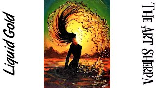 How to paint with Acrylic on Canvas Beach Girl  flipping hair with Water drops