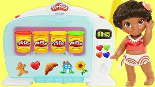 Baby Moana Play Doh Kitchen Creations Magical Oven, DIY Pizza Pies, Cookie Dessert   Sparkle Spice