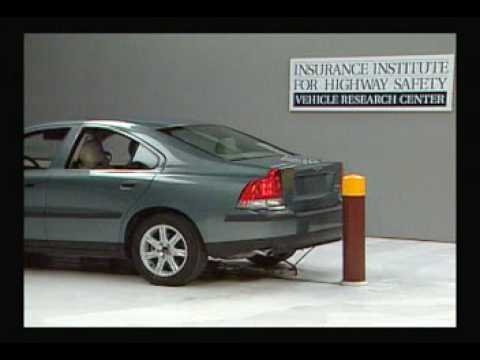 crash test 2002 volvo s60 5 m p h rear into pole iihs. Black Bedroom Furniture Sets. Home Design Ideas