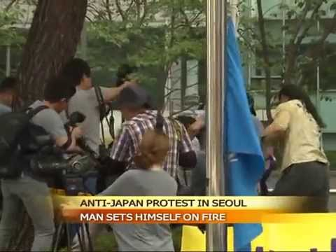 South Korean man sets himself on fire in anti-Japan protest