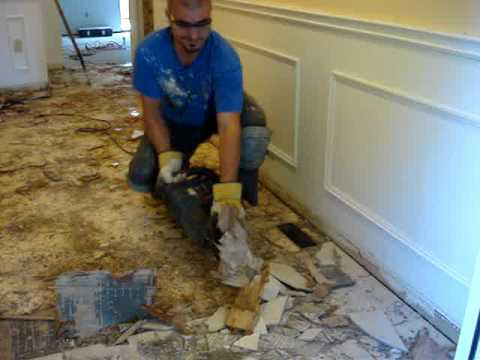 Removing old floor tiles