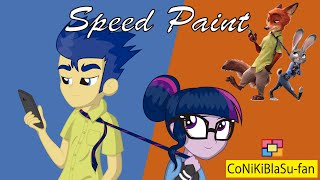 SPEEDPAINT Twilight Sparkle and Flash Sentry (My Little Pony) (parody Zootopia)