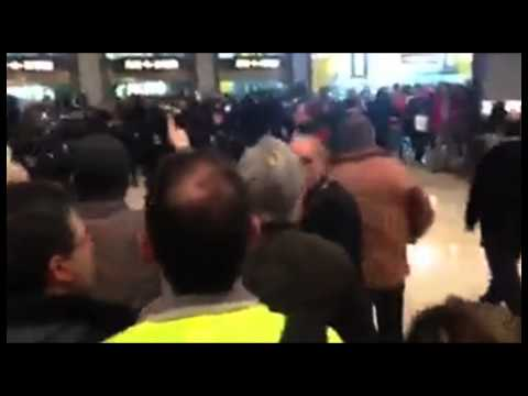 Iberia workers protest at Madrid airport on the first day of the strike