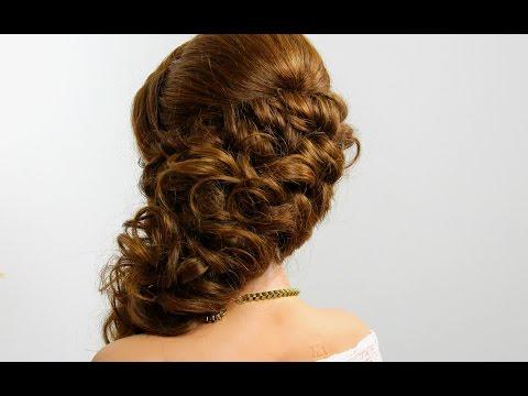 Вечерняя прическа с плетением на длинные волосы