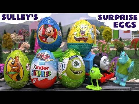 Surprise Eggs Scooby-doo Spongebob Play Doh Thomas The Train Sulley Kinder Hot Wheels Mickey Mouse video