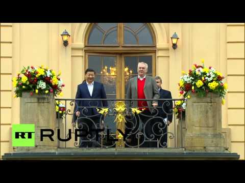 Czech Republic: Xi Jinping greeted by Czech Pres. Zeman at Lany chateau