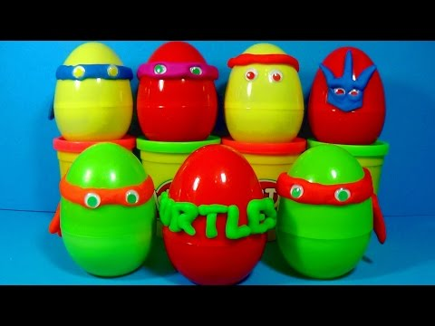 Play Doh Ninja TURTLES surprise eggs unboxing Splinter Shredder Leonardo Raphael Donatello eggs!