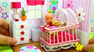 How to Make a Miniature Baby Room Things - Crib, Dresser, lamp - 10 Easy DIY Miniature Doll Crafts