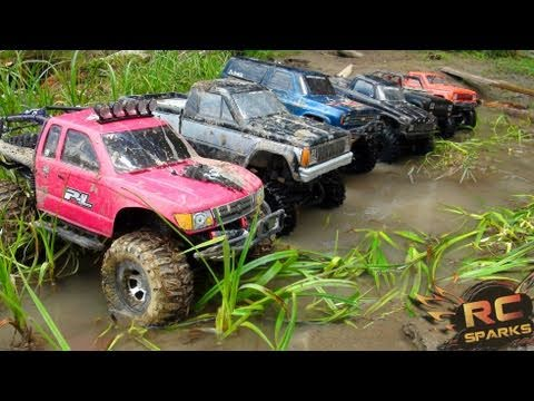 RC ADVENTURES: 6 Scale RC 4x4 Trucks in MUD, DIRT & a Forest! Group Trail Gathering [GTG]