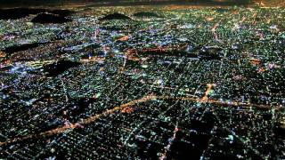 AA2417 DFW-MEX Landing at Night aerial view Mexico City lights