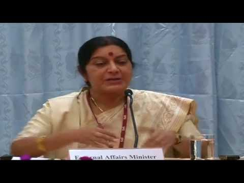 External Affairs Minister Smt. Sushma Swaraj press conference in Bhutan - 16th June 2014