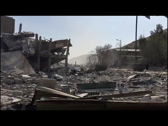 Syrian Scientific Research Centre smoldering after being hit by airstrikes