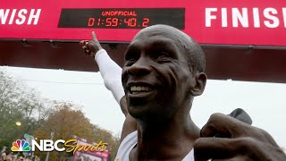 1:59:40! Kipchoge runs historic first sub-2 hour marathon | NBC Sports