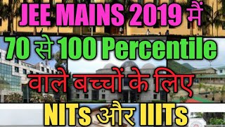 College based on Jee mains 2019 Percentile | NIT /IIIT/BITS/NSIT/DTU/