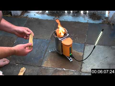Biolite Stove - Realtime test (LED light, Droidx Charge, and 32oz Water boil)