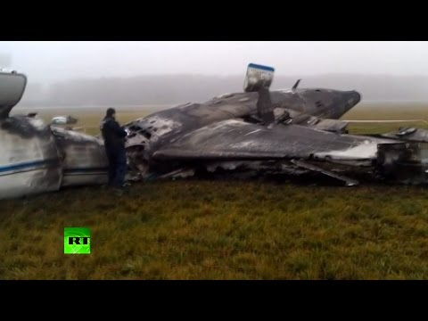 CRASH AFTERMATH: Total CEO's plane wreckage strewn at Moscow airport