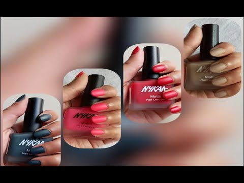Nykaa - Matte Nail Lacquer | Review + Swatches | Matte nail Polish (Hindi)