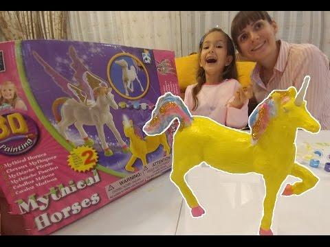 3D paint Mythical Horses,Elif ile Unicorn ve Pegasus atları boyadık, eğlenceli çocuk videosu