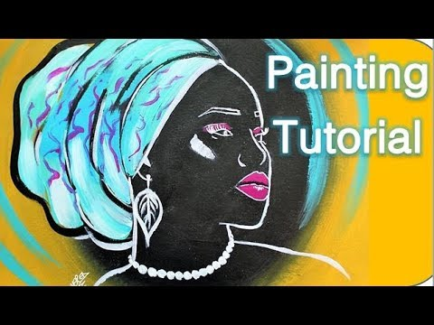 How to paint an AFRICAN WOMAN.  Painting Tutorial AFRICA Step by Step in acrylic for beginners