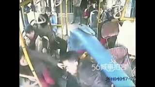 Bus Accident in China Caught on Tape Lucky Driver Barely Escape with His Head