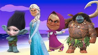 Wrong Hairs Baby, Face Swap Moana Maui Elsa Masha Finger family song collection Nursery Rhymes