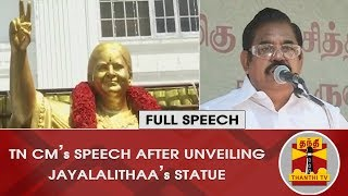 TN CM Edappadi Palanisamy's Full Speech after unveiling Jayalalithaa's Statue | Thanthi TV