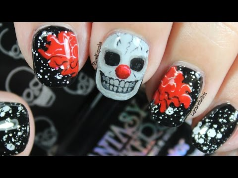 Halloween Nail Art *Creepy Skull Clown*